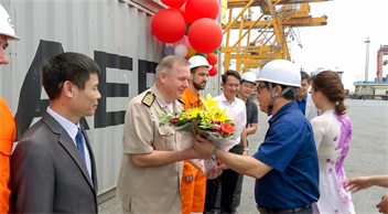 Welcome Ceremony of FESCO TRADER vessel – The first voyage of service NV2, route Xiamen - Hongkong - Yantian - Ningbo - Xiamen of Maersk